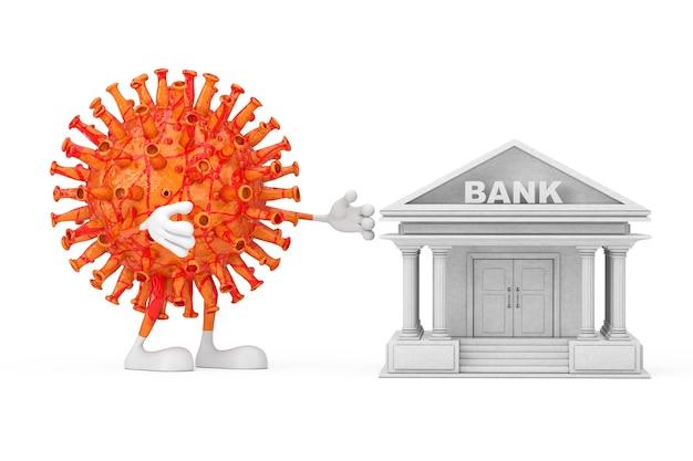 Cartoon coronavirus covid-19 maskottchen person charakter versuchen sie, das bankgebäude als symbol des weltfinanzsystems auf weißem hintergrund zu zerstören. 3d-rendering
