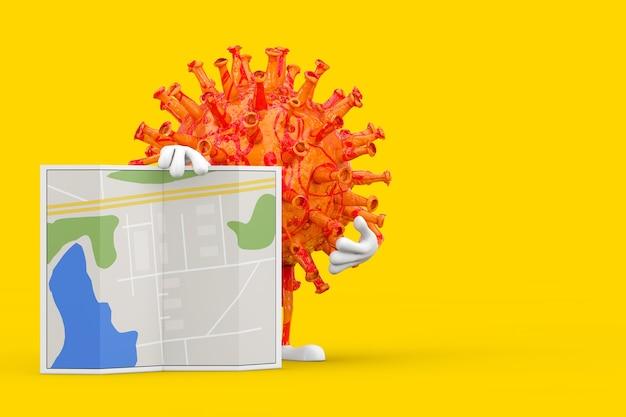 Cartoon coronavirus covid-19 virus maskottchen person charakter mit abstrakter stadtplankarte auf gelbem hintergrund. 3d-rendering