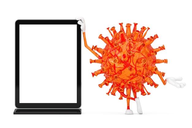 Cartoon coronavirus covid-19 virus maskottchen person charakter mit leerem messe-lcd-display-ständer als vorlage für ihr design auf weißem hintergrund. 3d-rendering
