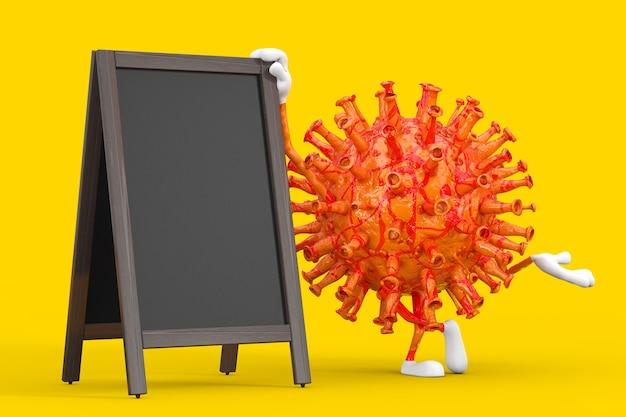 Cartoon coronavirus covid-19 virus maskottchen person charakter mit leeren holzmenütafeln outdoor display auf gelbem hintergrund. 3d-rendering