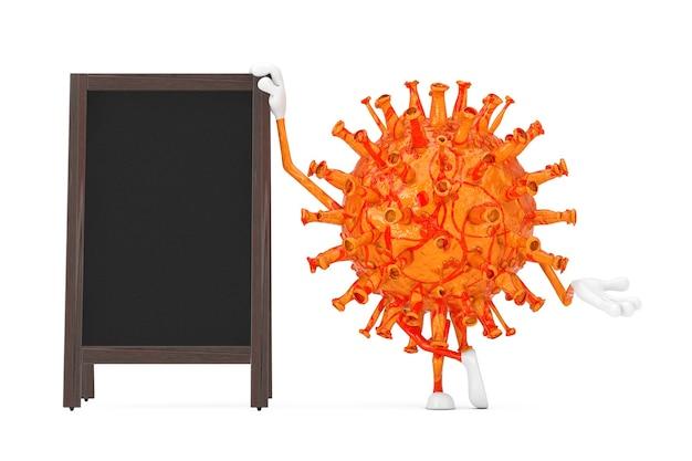Cartoon coronavirus covid-19 virus maskottchen person charakter mit leeren holzmenütafeln outdoor-display auf weißem hintergrund. 3d-rendering