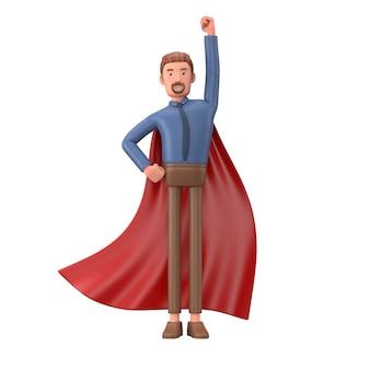 Cartoon geschäftsmann gekleidet wie ein superheld. 3d-illustration