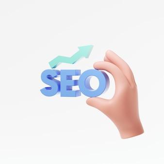 Cartoon hand halten seo-logo für suchmaschinenoptimierung und internet-marketing auf weißem hintergrund 3d render illustration