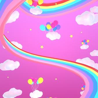 Cartoon magische regenbogenstraße und luftballons im rosa himmel 3d gerendertes bild