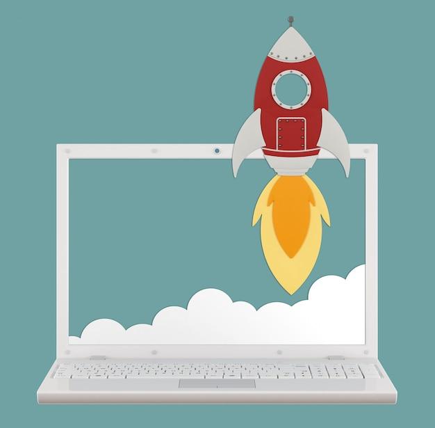 Cartoon-rakete mit realistischem laptop und wolke, konzept der upload-geschwindigkeit
