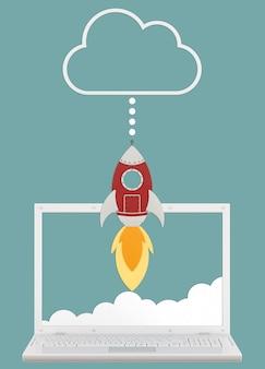 Cartoon-rakete mit realistischem tablet und wolke, konzept der upload-geschwindigkeit