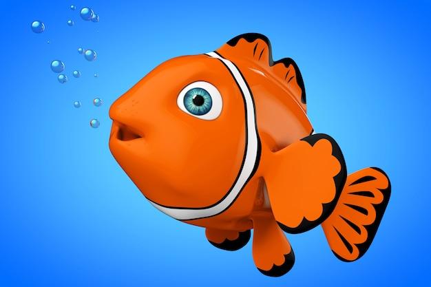 Cartoon-rotes meer clownfish auf blauem grund. 3d-rendering.