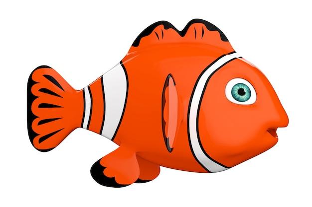 Cartoon-rotes meer-clownfish auf weißem hintergrund. 3d-rendering.