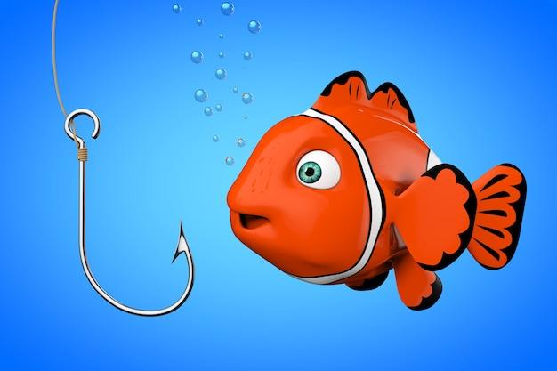 Cartoon-rotes meer-clownfish, das auf einem angelhaken auf blauem hintergrund schaut. 3d-rendering.