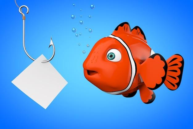 Cartoon-rotes meer-clownfish, das auf einem angelhaken mit leerem papier auf blauem hintergrund schaut. 3d-rendering.