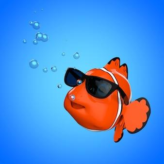 Cartoon-spaß-rotes meer-clownfish mit sonnenbrille auf blauem hintergrund. 3d-rendering.