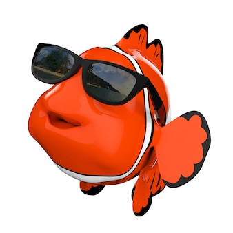 Cartoon-spaß-rotes meer-clownfish mit sonnenbrille auf weißem hintergrund. 3d-rendering.
