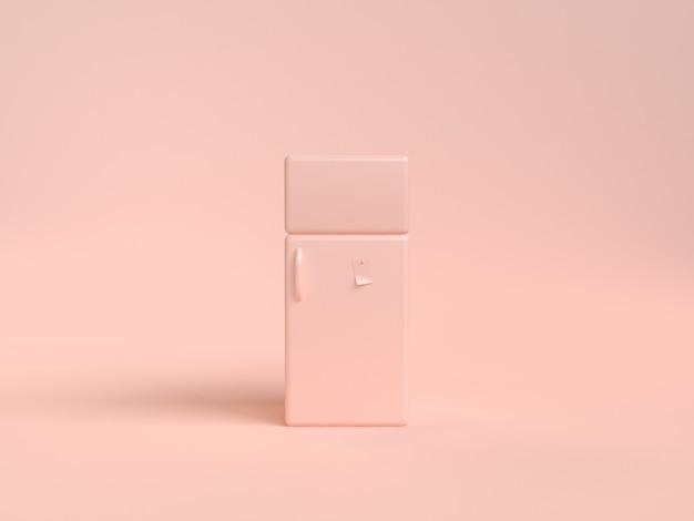 Cartoon-stil kühlschrank abstrakte weiche rosa-creme 3d-rendering objekt küche konzept