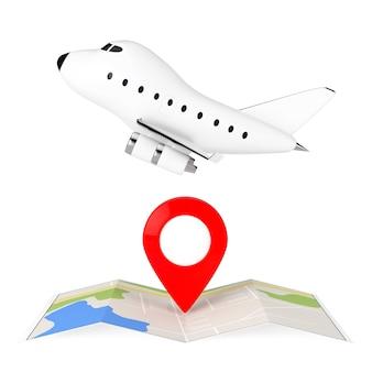 Cartoon-toy-jet-flugzeug über gefaltete abstrakte navigationskarte mit ziel-pin auf weißem hintergrund. 3d-rendering.