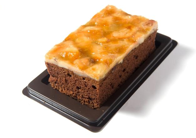 Cashewnuss brownie isoliert auf weißem hintergrund