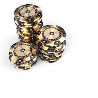 Casino-luxus-chips in gold und schwarz mit diamant-einsätzen