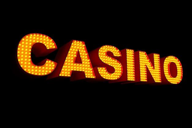 Casino-schild mit glühbirnen auf schwarzem hintergrund. 3d-rendering