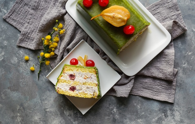 Cassata siciliana, traditioneller bonbon von palermo und von messina für ostern, sizilien, italien