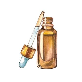 Cbd-ölhanfprodukte. aquarellillustration auf weiß
