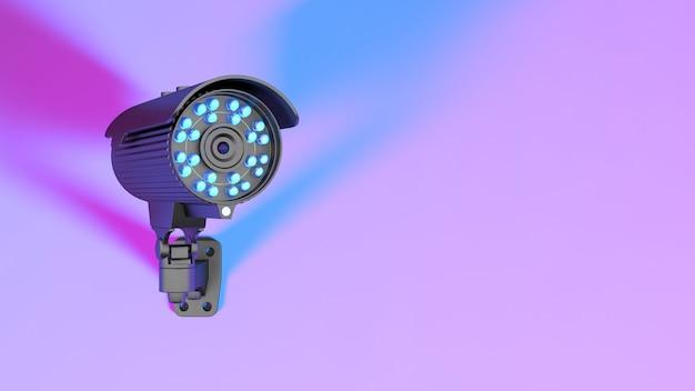 Cctv-kamera in neonpurpurner beleuchtung, 3d-illustration