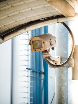 Cctv-kamerasicherheit in einer stadt