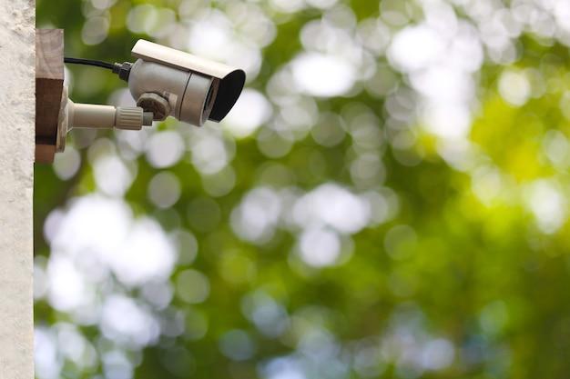 Cctv-system im garten und kopienraum, instrumental in sicherheitswerkzeugen für den monitor.
