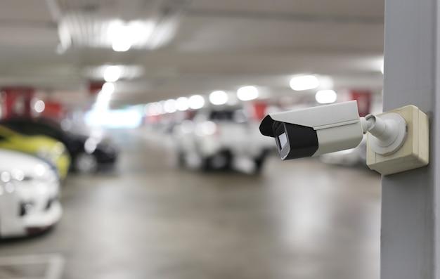 Cctv-tool auf parkplatz hintergrund
