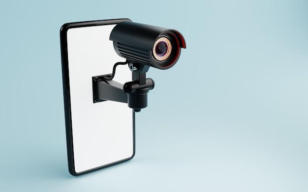 Cctv-überwachungskamera isoliert auf weißem smartphone-display in blauem hintergrund. sichere technologie im immobilien- und hausbesitzerkonzept. platz kopieren. 3d-darstellungs-rendering