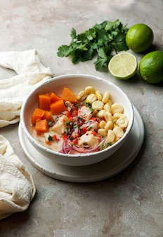 Cebiche, ceviche, lateinamerika-mahlzeit, peruanisch marinierter fisch