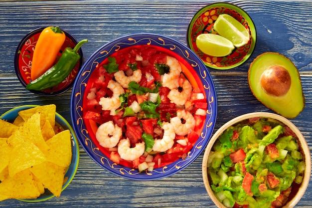 Ceviche camaron garnelen nachos und guacamole