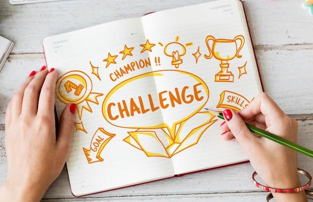 Challenge goal target trial skill test trophy konzept