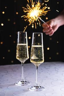 Champagner und feuerwerk Premium Fotos