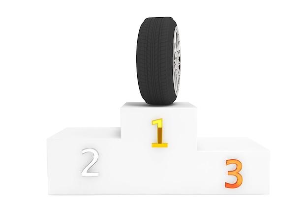 Champion wheel-konzept. rad über podest erster platz auf weißem hintergrund