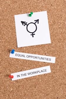 Chancengleichheit am arbeitsplatz und geschlechtssymbol