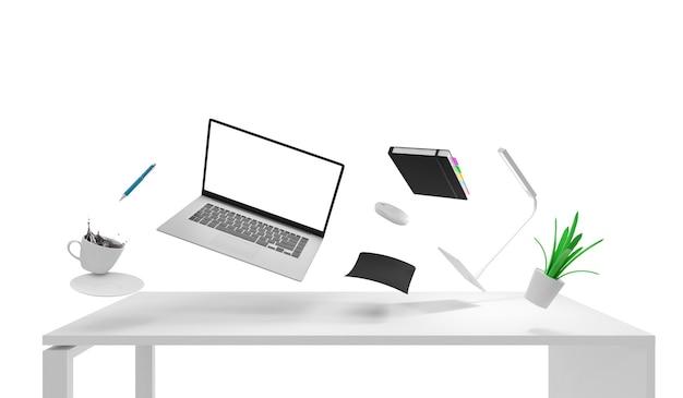Chaos in modern place of work group of office equipment and accessories schweben über dem schreibtisch