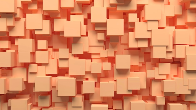 Chaotisch verstreute würfel des abstrakten musters der beige farbe, 3d illustration