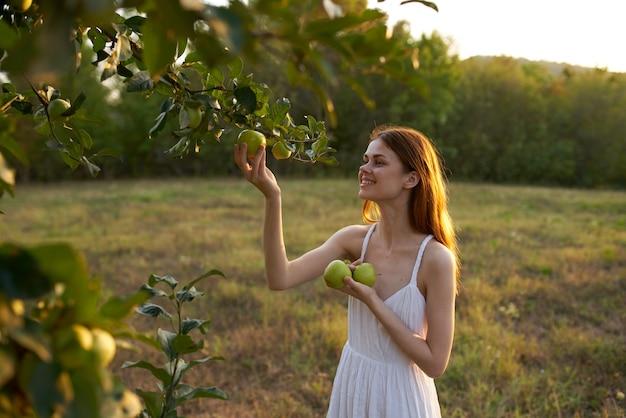 Charmante dame in einem weißen kleid mit äpfeln nahe einem baum