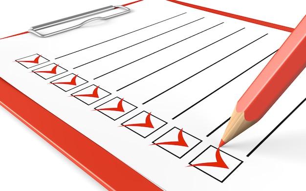 Checkliste. rote zwischenablage und bleistift.