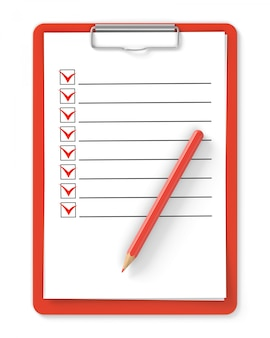 Checkliste. rotes klemmbrett und bleistift getrennt auf weiß