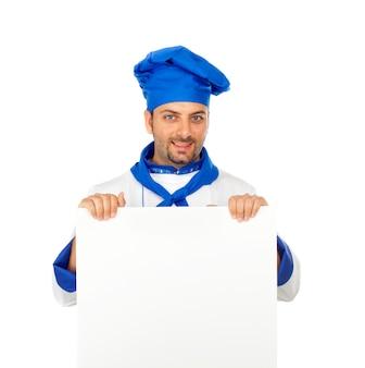 Chef mit unbelegter anschlagtafel