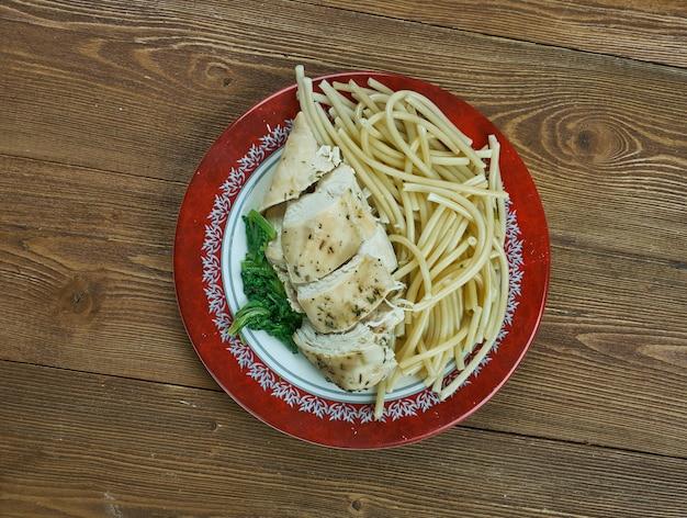 Chicken florentiner stil hautnah, italienische küche. hühnchen mit sahnesauce, serviert auf spinat,