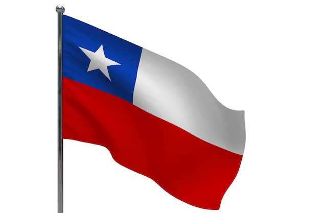 Chile flagge auf pole. fahnenmast aus metall. nationalflagge von chile 3d-illustration auf weiß