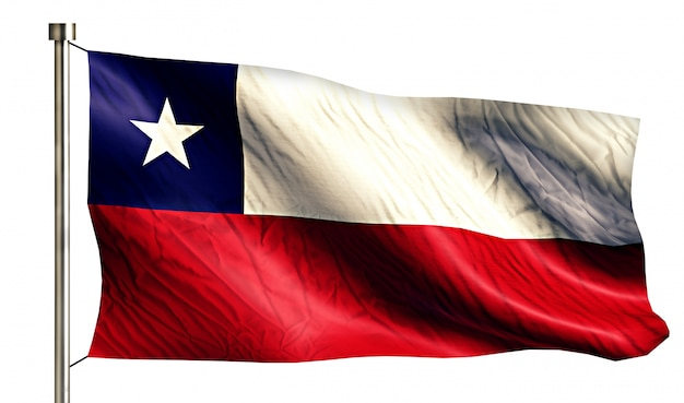 Chile nationalflagge isoliert 3d weißen hintergrund