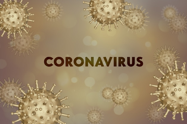 China epidemie coronavirus 2019-ncov in wuhan, banner mit bakterien - hintergrund. virusinfektion. medizinische tapete. quarantäneabbildung. globales pandemiekonzept.