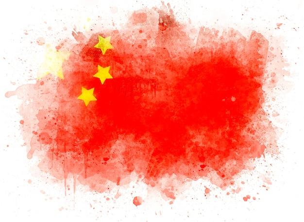 China-flagge auf weißem papier, aquarellillustration
