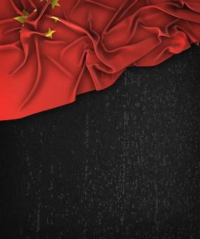 China-flagge weinlese auf einer grunge-schwarzen tafel mit raum für text
