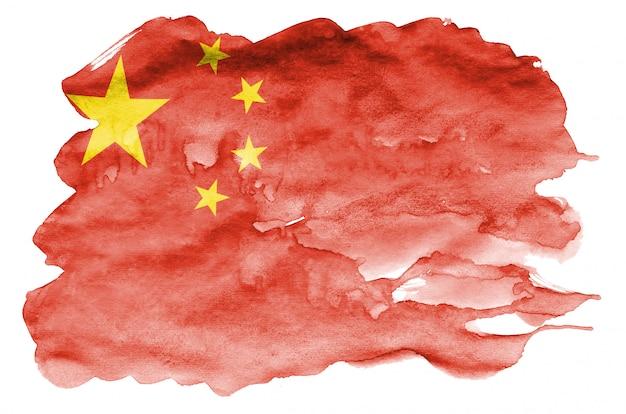China-flagge wird in der flüssigen aquarellart dargestellt, die auf weiß lokalisiert wird