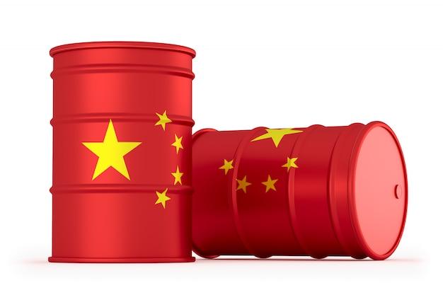 China-öl redete die lokalisierten flaggenfässer an