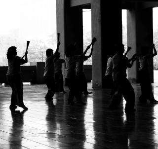 Chinesisch fan tänzer, schritt
