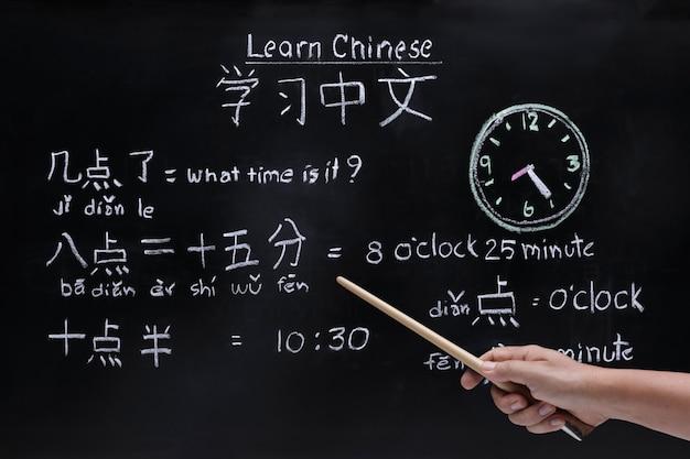Chinesisch lernen, um die zeit im klassenzimmer zu bestimmen.